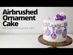 Airbrushed Ornament Cake - YouTube