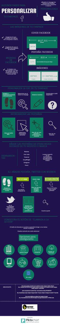 Hola: Una infografía sobre Cómo personalizar tu fan page de Facebook. Vía Un saludo