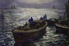 """""""Provincetown Harbor, Evening,"""" John Whorf, watercolor on paper, Pierce Galleries."""