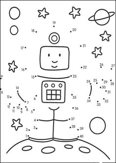 Connect the dots and color ! Space Activities, Learning Activities, Kids Learning, Activities For Kids, Space Party, Space Theme, Dotted Page, Connect The Dots, Space Crafts