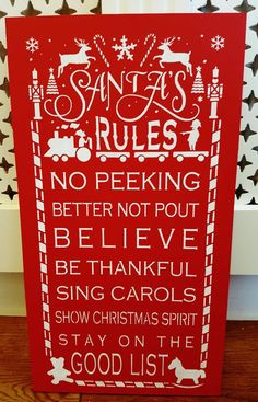 A gorgeous wooden sign painted in a vibrant poppy red with crisp white lettering and images. A great sign to hang and remind the children to be good in the run up to the big day! Christmas Signs, Christmas Decorations, Wooden Signs, Festive, Xmas, Santa, Thankful, Spirit, Handmade Gifts