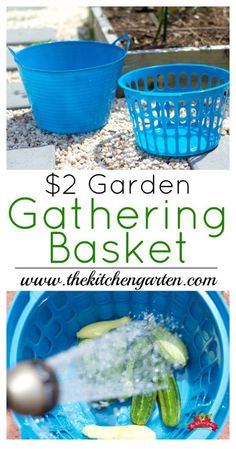 Here's an easy way to gather and wash your garden veggies. There's no wasted water either!