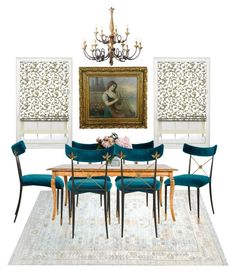 Dinning Room by a-romantic-at-oxford on Polyvore featuring polyvore interior interiors interior design maison home decor interior decorating Jonathan Adler Masini Gioielli New Growth Designs