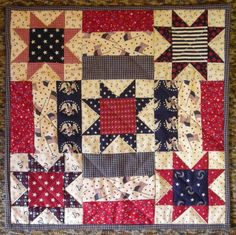 """Fourth of July quilted tabbed wallhanging 15 1/2"""" by 15 1/2"""" for $23.99 at the Cottage Gift Shop - Elmira, New York"""