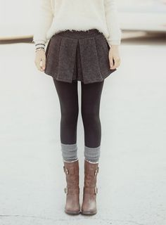 Cozy fuzzy sweater with tweed skirt and booties!!