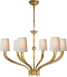 "$1,680- RUHLMANN SIX LIGHT CHANDELIER- Height: 24 1/4"" * Width: 35 1/4"" Canopy: 5 1/2"" Round Chain: Ships With 6 ft of Chain Shade: 4"" x 5"" x 6 1/2"" Wattage: 6 - 60 Watt Type B Socket: Candelabra"