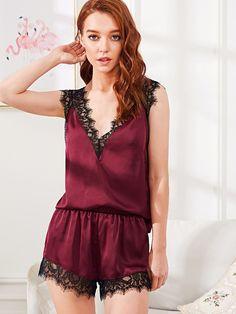 8a4b76bc9b Lingerie Bordeaux Spitze Satin Schlafanzug Spitze Lace Pyjama-Set Gr. M NEU  Sexy Pajamas
