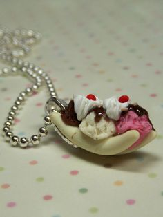 Miniature Food Jewelry Banana Split Sundae by kawaiibuddies