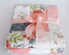 Patchwork Baby Quilt~ Homemade Baby Quilt~Pink & Grey Nursery~Baby Girl Quilt~ Coral Nursery~ Woodland Nursery Bedding~ Baby Quilts For Sale by LittlebCottonShoppe on Etsy