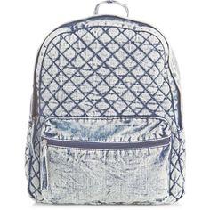 Blue Denim Quilted Backpack ($31) ❤ liked on Polyvore featuring bags, backpacks, backpack, denim backpack, pocket bag, zip bags, blue bag i quilted bag