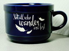 Not all who wander are lost Personalized Blue Stoneware 22 oz Coffee  Soup Mug *** Find out more about the great product at the image link. (This is an affiliate link)