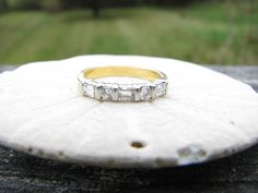Vintage Diamond Wedding Band, Finely Made 18K and Platinum, Round Brilliant and Baguette Diamonds