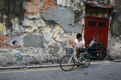 Cycling in Georgetown by Nickchan! #cycling #georgetown #mural #street #art #creative #heritage #penang #awesomepenang #malaysia #asia #ernest #zacharevic #armenian #street
