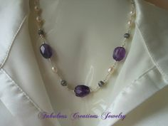 Statement Necklace, Amethyst & Pearl Necklace
