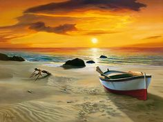 Oil Painting On Canvas Art Decor Prints For Home Decoration Seaside Sunset With Boat On Canvas Seascape picture(China (Mainland)) Seascape Paintings, Landscape Paintings, Chat 3d, Boat Art, Boat Painting, Scenery, Canvas Art, Ocean, Pictures