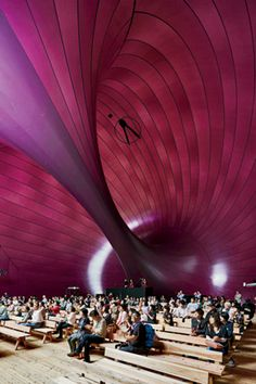 Anish Kapoor and Arata Isozaki Matsushima, Japan The normally opaque eggplant-colored membrane becomes nearly translucent when light shines through it. The welded seams between sections of the skin are revealed on the interior during the day and on the outside at night, when Ark Nova is illuminated from within