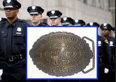 Solid Brass Belt Buckle Vintage PIG Police ~ Patience Integrity Guts America's Finest by LovesUnique on Etsy
