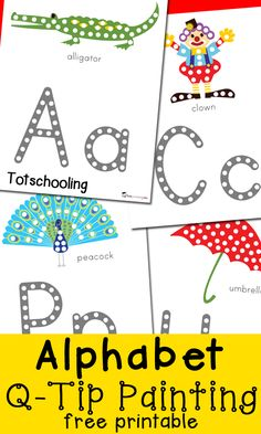 Alphabet Q-Tip Painting Printables. Fun way to build fine motor skills and work on letter formation too!