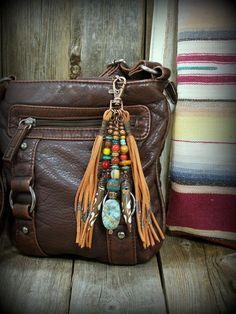 Purse Tassel, Beaded Tassel Clip, Southwest Tassel, Boho Tassel, Purse Charm, Purse Accessory, Native American Accessory, Southwestern Clip
