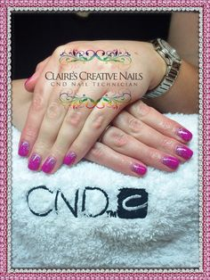 CND Brisa Lite Smoothing Gel with Gelish Tahiti Hottie and Silver Holographic Glitter fade. By Claire's Creative Nails, Northampton.  Call or text: 07752 397245 to book your appointment. #gelish #nothampton #NailSalon #glitter #nails #cnd #nailmazing