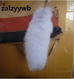 zalzyywb Fox fur tail Fluff Keychains Fashion Metal Key Chain Ring for Women Gift Purse Bag Charms Pendant Christmas gift