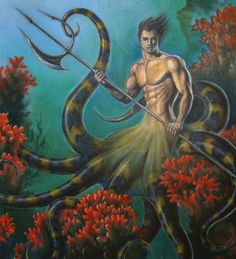 The Cecaelia is a creature with origins in Asian and Native American mythology, . Magical Creatures, Fantasy Creatures, Sea Creatures, Fantasy Mermaids, Mermaids And Mermen, Fantasy Kunst, Fantasy Art, Native American Mythology, Merfolk