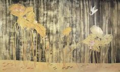 常玉 荷塘白鶴(六屏屏風)182x297木板油畫