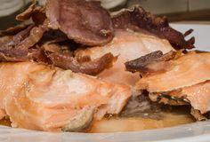 Salmón y jamón serrano.  Combinación de ingredientes del mar y de la tierra, simplemente genial.