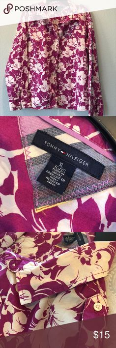 Tommy Hilfiger Pink White Hawaiian Floral Blouse Tommy Hilfiger Pink (Fushia) White Hawaiian Floral Print Button Down Shirt. Long Sleeved, collared shirt. One front pocket. Side rounded slits. In excellent condition, only worn twice. Shaped fit. 100% Cotton. Size XL. Tommy Hilfiger Tops Button Down Shirts
