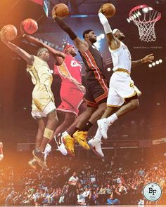 Lebron James dunking through the stages of his basketball career. #lebron-james #basketball Love this image of King James.