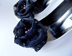 Grey  Roses Shoe Clips by BizimFlowers on Etsy