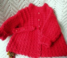Valentine Crocheted Red Sweater Newborn Infants by MagdaleneKnits