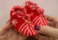 Пинетки тунисским крючком (Tunisian crochet knitting booties)