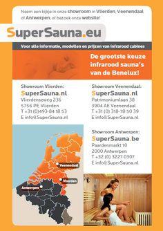 SuperSauna Infrarood Cabines: algemene informatie showrooms en toonzalen. kijk ook op www.supersauna.nl