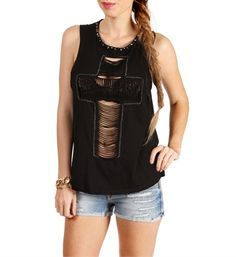 Black Laser Cross Cutout Studded Top
