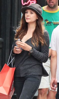 6082e9c00445 Olsens Anonymous Elizabeth Olsen Greys And Browns Fedora Hat NYC Candid  Long Sleeve Top Watch Close Up photo ...