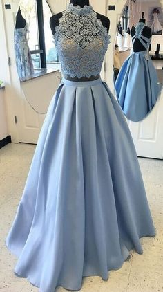 Sparkly Prom Dresses, Light Blue Long Prom Dresses,Two Pieces Prom Dresses For Teens,Lace Prom Dress,A-line Prom Dresses,Satin Prom Dresses,Simple Cheap Elegant Prom Dresses,Prom Gowns,Evening Dresses
