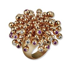 Cartier paris nouvelle vague ring / cluster of balls on the top accented with diamonds and pink sapphires