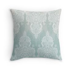 """Lace & Shadows - soft sage grey & white Moroccan doodle"" Throw Pillows by micklyn 