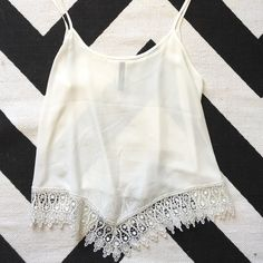 lace white tank one little stain that should be able to come out nella fantasia Tops Tank Tops