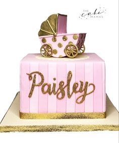 Simple pink and gold, stroller baby shower cake. Call or email to order your celebration cake today. Baby Shower Fun, Baby Shower Cakes, Baby Shower Themes, 11th Birthday, Birthday Ideas, Cakes Today, Cupcake Wars, Pretty Cakes