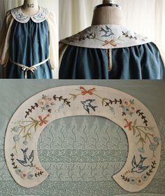 Easy to do, and absolutely gorgeous Embroidery Stitches, Embroidery Patterns, Hand Embroidery, Dress Neck Designs, Collar Designs, Clothes Crafts, Sewing Clothes, Broderie Simple, Sewing Collars