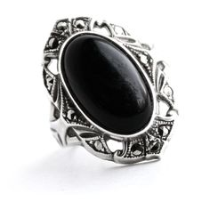 Antique Art Deco Sterling Silver Ring - Marcasite & Onyx Black Stone... ($55) ❤ liked on Polyvore