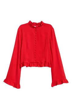 Frilled blouse - Red - Ladies | H&M GB