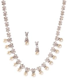 Loving this White Pearl & Crystal Necklace & Earrings on #zulily! #zulilyfinds