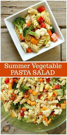 Summer Vegetable Pasta Salad Recipe from RecipeGirl.com #summer #vegetable #pasta #salad #recipe #RecipeGirl Salad Recipes For Parties, Best Salad Recipes, Pasta Recipes, Dinner Recipes, Cooking Recipes, Healthy Recipes, Recipe Pasta, Dinner Ideas, Pasta Carbonara