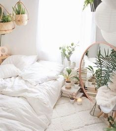 Home Design Ideas: Home Decorating Ideas Cozy Home Decorating Ideas Cozy When in. Home Design Ideas: Home Decorating Ideas Cozy Home Decorating Ideas Cozy When in doubt, add more plants. And then add a few more. Bohemian Bedrooms, Trendy Bedroom, Bedroom Decor Boho, Bedroom Modern, Boho Bedrooms Ideas, Boho Bed Room, Boho Decor, White Bohemian Decor, Bedroom Ideas For Small Rooms Cozy