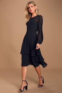 All Black Dresses, Black Dress With Sleeves, Black Long Sleeve Dress, Long Sleeve Crop Top, Dresses With Sleeves, Dress Long, Black Outfits, Black Midi Dress, Prom Dress