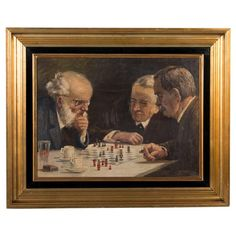 Signed Original Danish Oil Painting of Chess Players, Edmund Fischer, c.1920