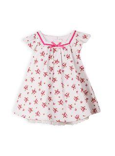 Pumpkin Patch - dresses - spot trim dress - W4BG80046 - milk - 0-3m to 12-18m
